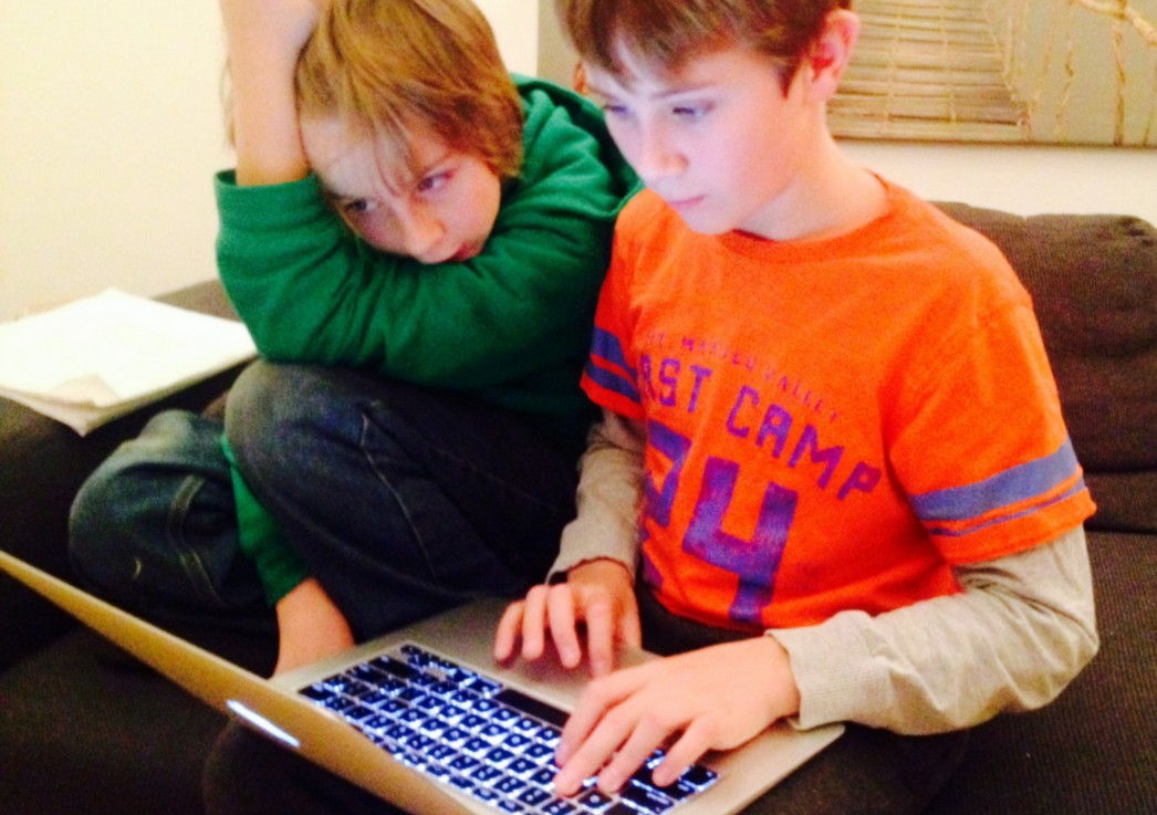 Two boys playing an Audazzle computer game together on their laptop.